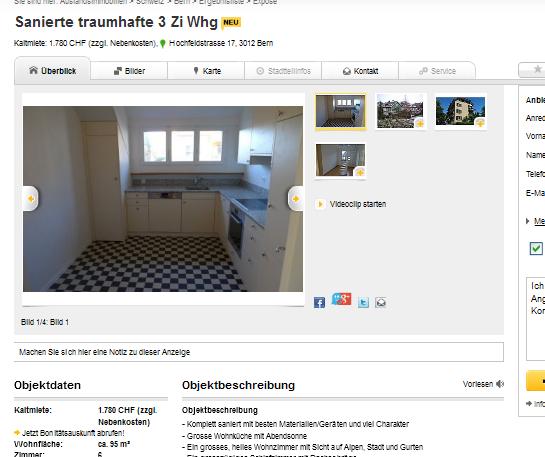 Wohnung Hochfeldstrasse Bern