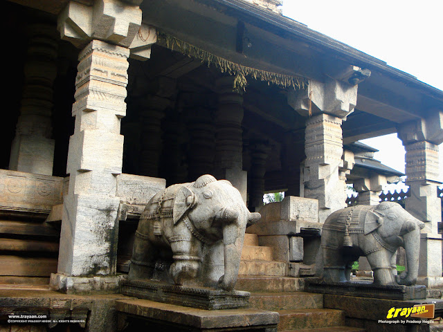 Carved elephant balustrades of Bhairadevi Mantapa of Thousand Pillared Jain Temple in Moodabidri, near Mangalore, Karnataka, India - called as Tribhuvana Tilaka Chudamani basadi or Chandranatha basadi, also known as Saavira Kambada Basadi