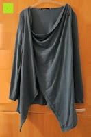 vorne: ZANZEA Damen Langarm Asymmetrisch Stricka Pullover Cardigan Wasserfall Tops