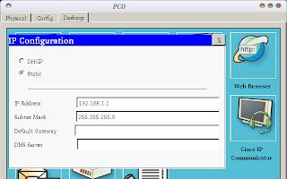 Selanjutnya, setting IP address kedua PC. IP yang digunakan juga kelas C, yaitu PC0: 192.168.1.1 dan PC1: 192.168.1.2.