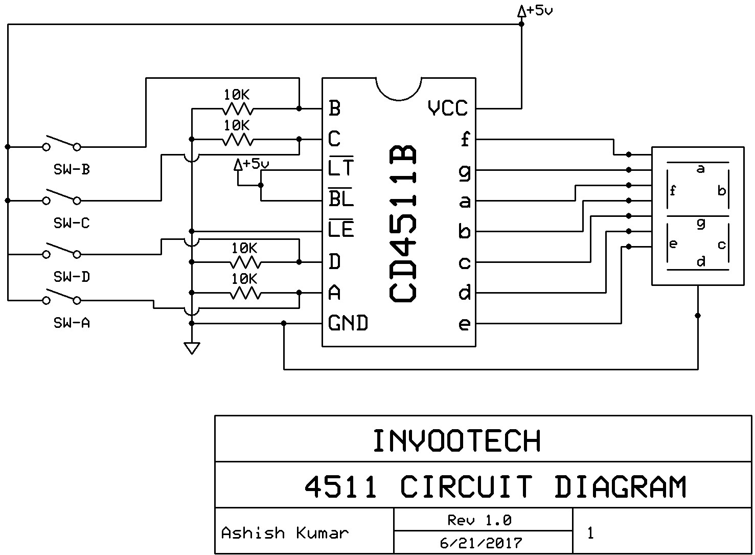 Invootech Innovation Technology Ic Cd4511 For Controlling 7 Segment Display Circuit Diagram Seven