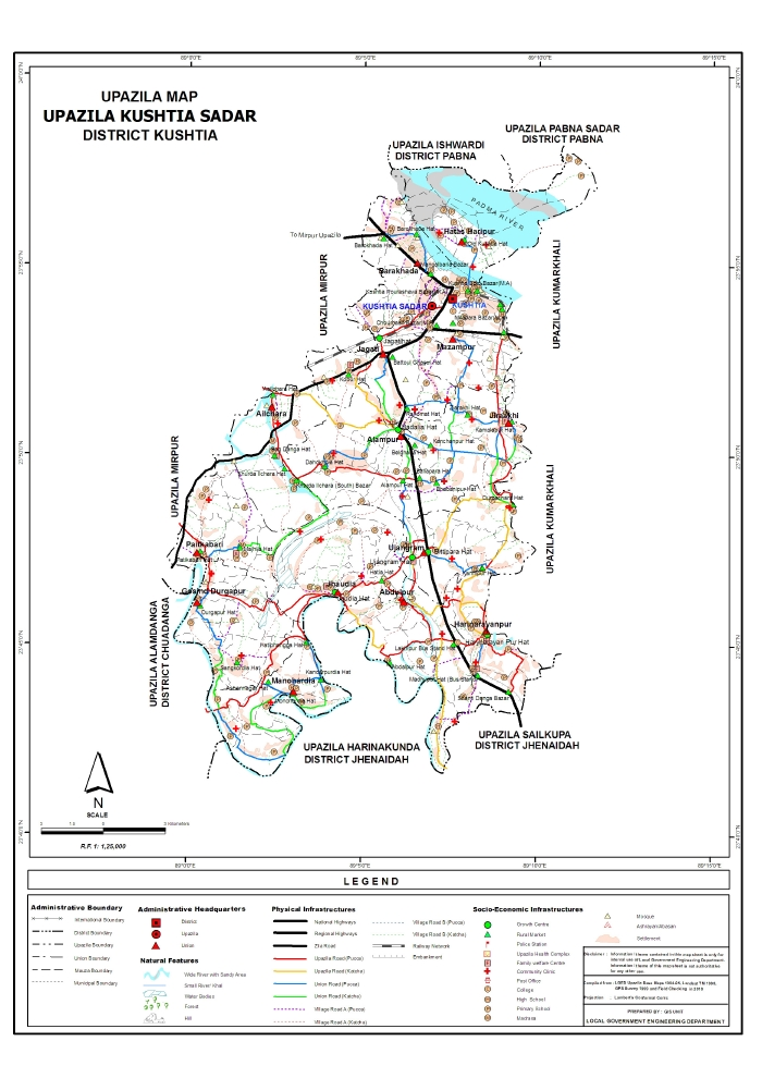 Kushtia Sadar Upazila Map Kushtia District Bangladesh
