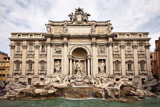 The Palazzo Poli is the palace immediately behind the Trevi Fountain in the centre of Rome