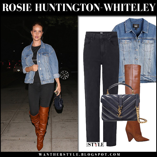 Rosie Huntington-Whiteley in denim jacket paige, black jeans and brown leather saint laurent niki boots in Los Angeles september 19 2017 street style