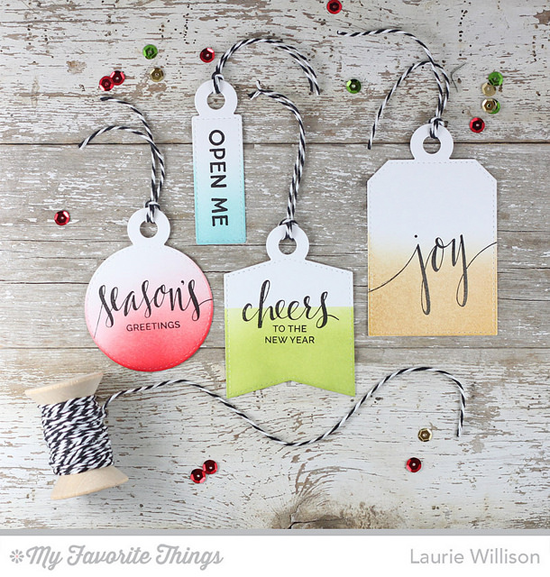 Handmade tags from Laurie Willison featuring Hand Lettered Holiday and Gift Tag Greetings stamp sets, and Tag Builder Blueprints 4 Die-namics #mftstamps