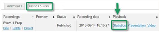 Meetings Recordings tab, now displays Statistics link for recordings