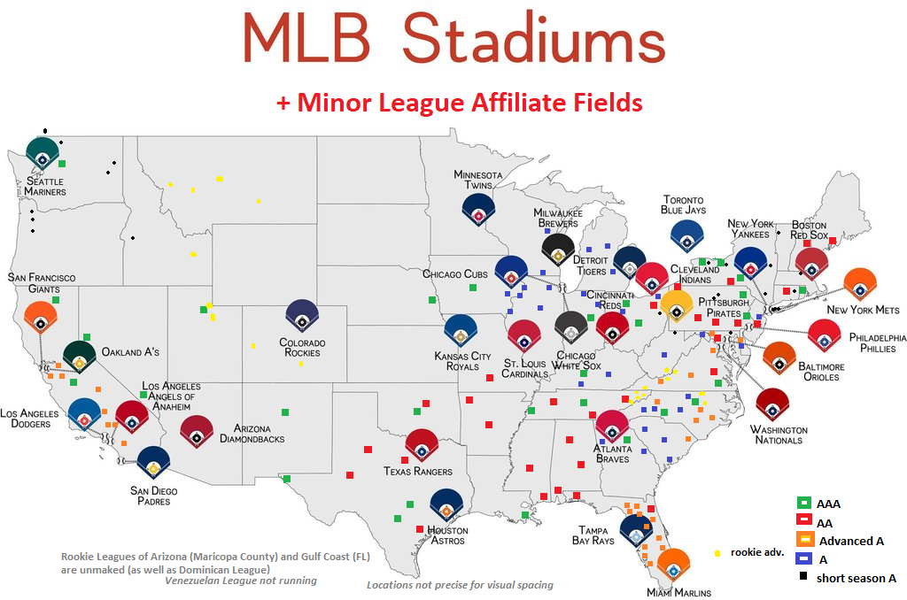 Next Major League Expansion Team: Map and Chart of Pro Baseball