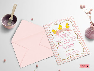 baptism invitations for girls with duck