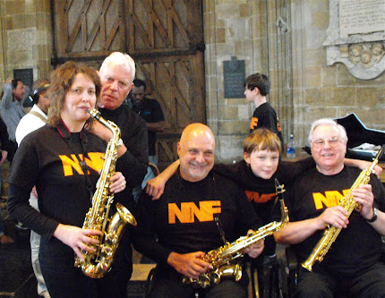 The Saxmassive Heavy Gang - Penny, Laurie, Mark, Groupie and Me.