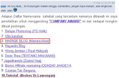 Company Award - Award Ke- 3 dari Sahabat Penyuluh Perikanan