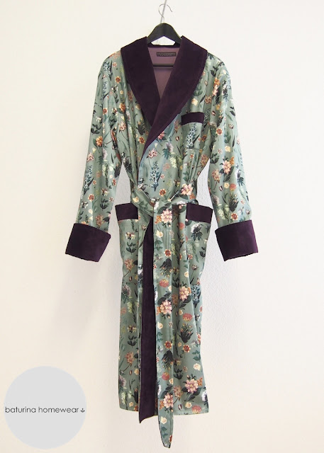 Mens Dressing Gown Floral Pure Cotton Velvet Mint Green Plum Purple Luxury Tailored Gentleman Lined Long Shawl Robe Tropical Pattern Dapper