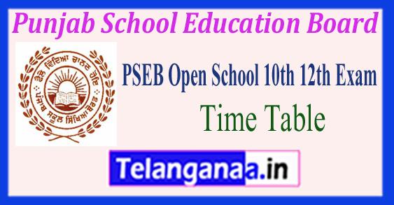 PSEB Punjab School Education Board Open School 10th 12th Time Table 2018