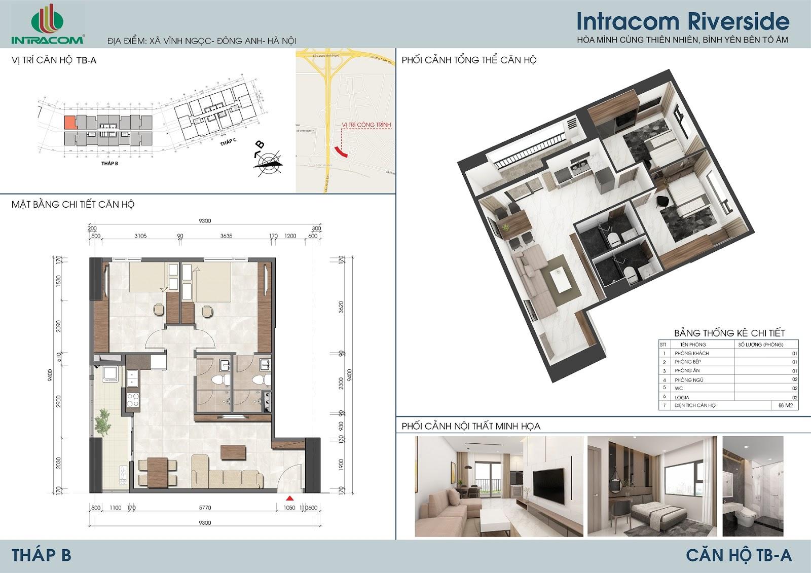 Thiết kế căn hộ 66m2 (02 phòng ngủ), căn số: 01, 08, 09, 16.