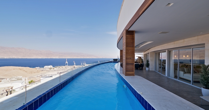Swimming pool in penthouse apartment in the desert