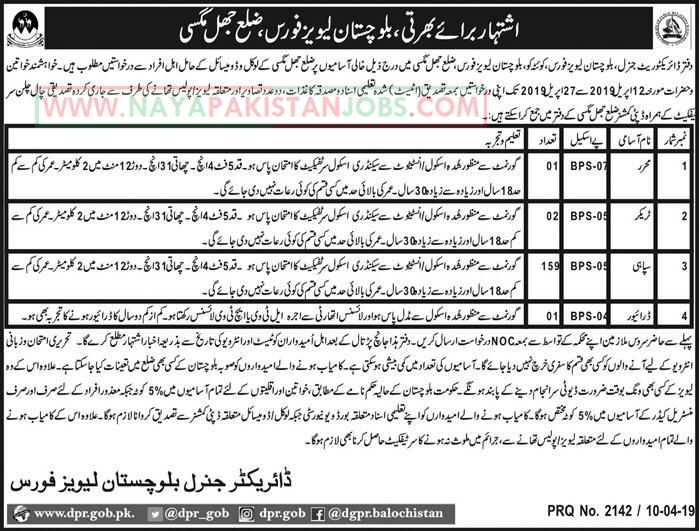 Balochistan Levies Force Jobs April 2019, Jobs in Balochistan Levies Force for Sepahi Stenographer driver,