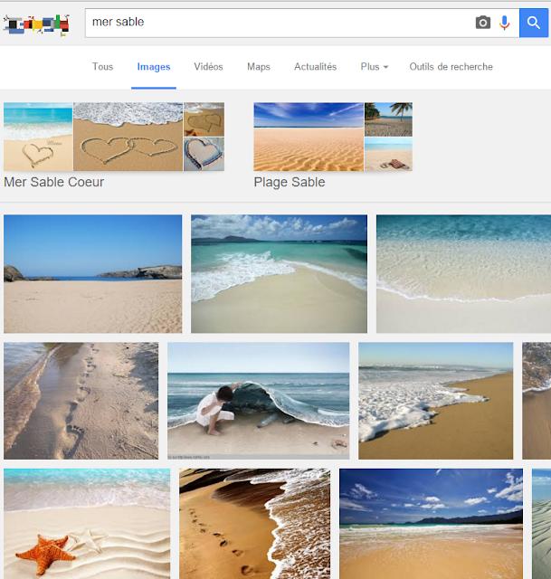 """Voila l'exemple d'une recherche sur Google Image pour """"Mer sable"""""""