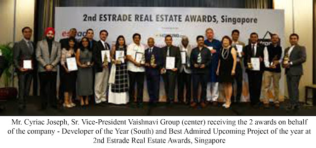 Vaishnavi Group Wins Developer of the Year (South) at 2nd Estrade Real Estate Awards, Singapore