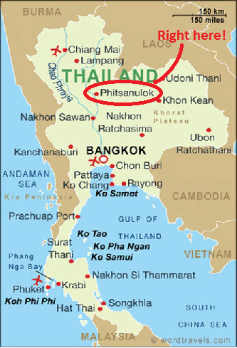 Phitsanulok Thailand Map.Thai Travels Phitsanulok