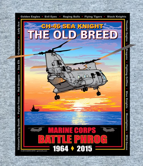 "USMC CH-46 Sea Knight ""Battle Phrog"" T-shirt and Poster Released by Gavin Arts: ""The Old Breed"" Sea Knights, soon fly into history"