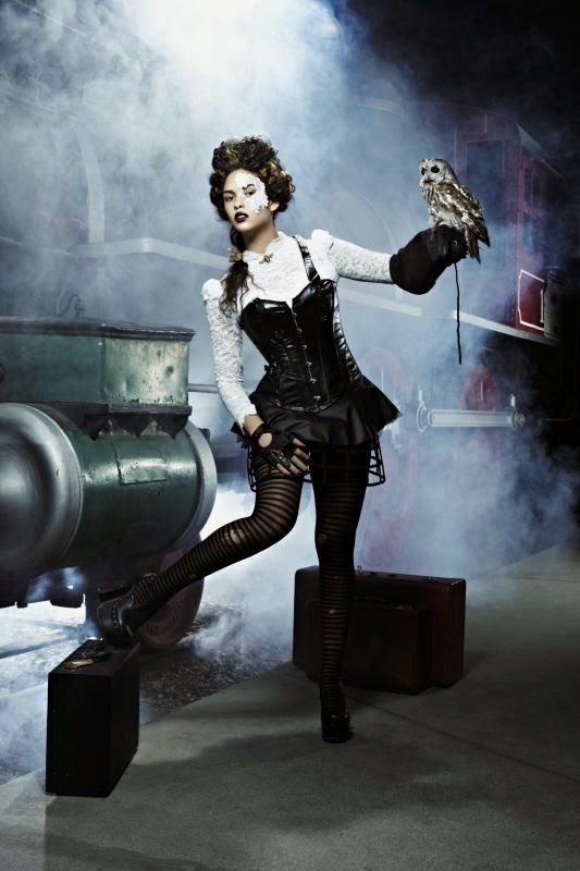 steampunk womens clothing tights owl gloves and mask