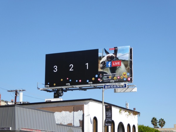 3 2 1 Facebook Live billboard