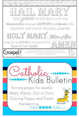 Catholic Kids Bulletin Coloring Page Assumption of the Blessed Virgin Mary Hail Mary