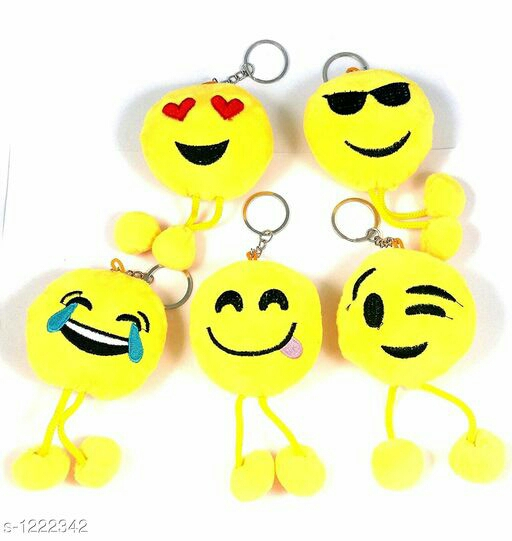 Useful Fluffy Smiley Emoji Keyrings Pack Of 2