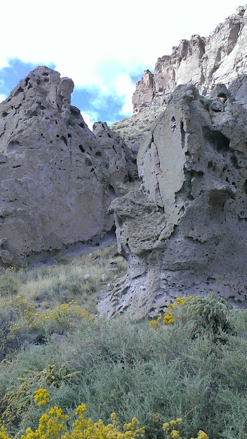Odd shaped rock formations and yellow flowery shrubs in Echo Canyon / eagle Valley, Pioche, Nevada