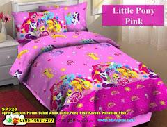 Sprei Custom Katun Lokal Anak Little Pony Pink Kartun Karakter Pink