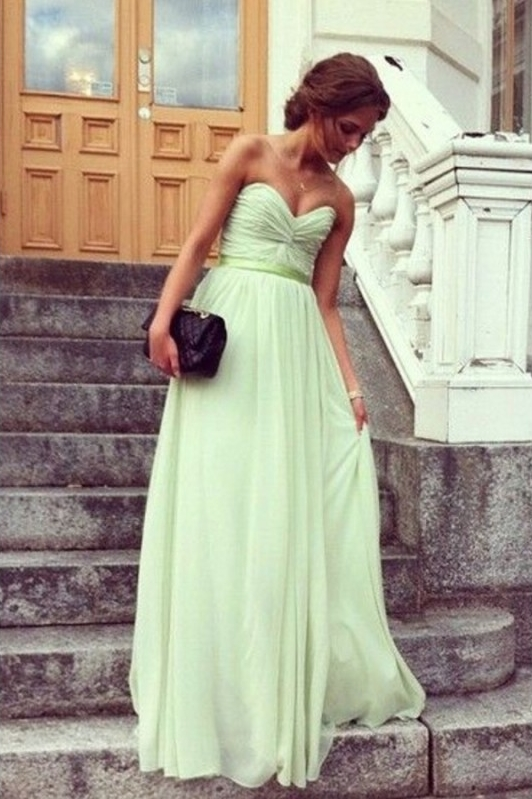 Sweetheart Chiffon with Sashes/Ribbons A-line Sage Wholesale Prom Dress