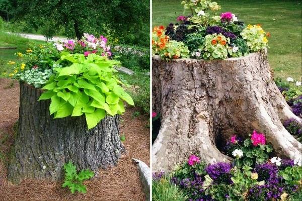 5 Ideas Para Decorar El Tocon De Un Arbol Talado Guia De Jardin - Troncos-de-arboles-decorativos