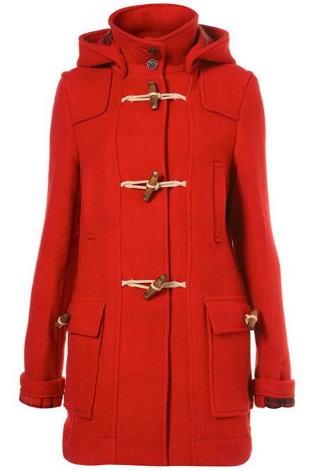 Kırmızı Renk Bayan Palto Modelleri