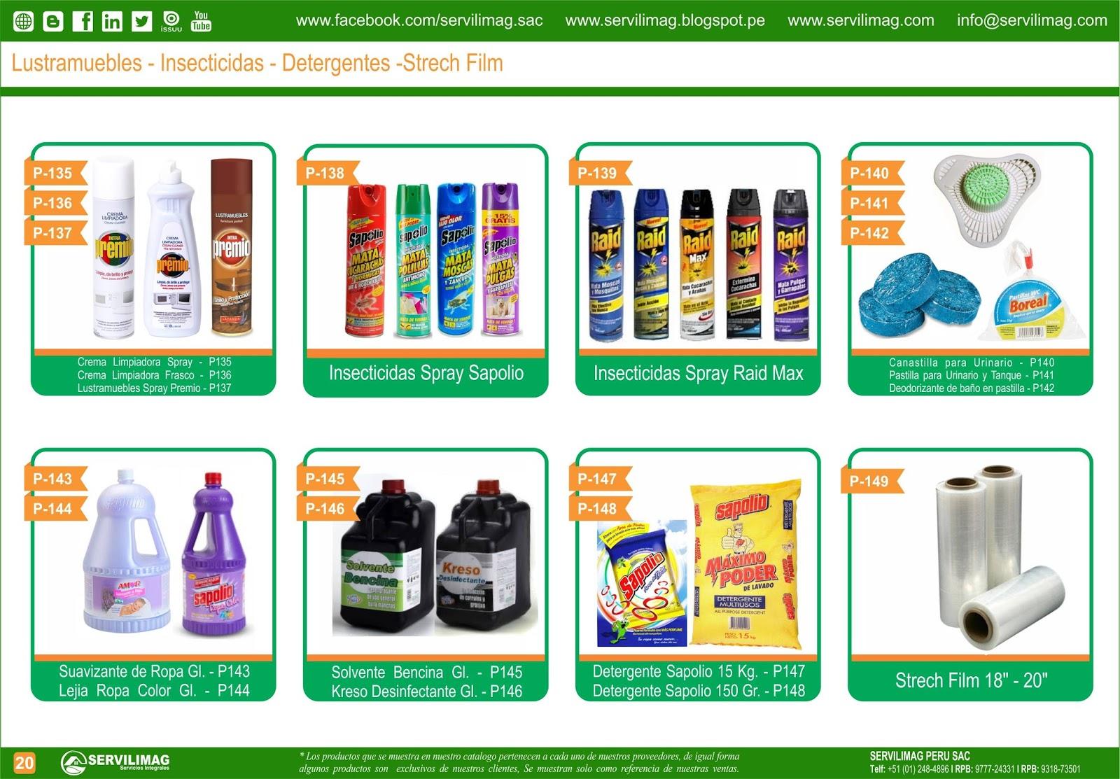 Servilimag servicios integrales venta productos de for Modelo de catalogo de productos
