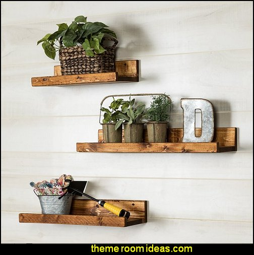 Rustic Luxe 3 Piece Floating Shelf Set   rustic industrial farmhouse decorating - Industrial farmhouse decor - rustic farmhouse decor - industrial farmhouse living - barn door decor - rustic farm style deccor -  Modern Farmhouse decor - Sliding barn Doors - modern industrial farmhouse decorating - Windmill Table Decor
