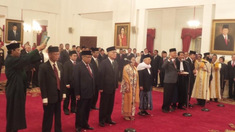 Suasana pelantikan Unit Kerja Presiden Pembinaan Ideologi Pancasila (UKP-PIP) di Istana