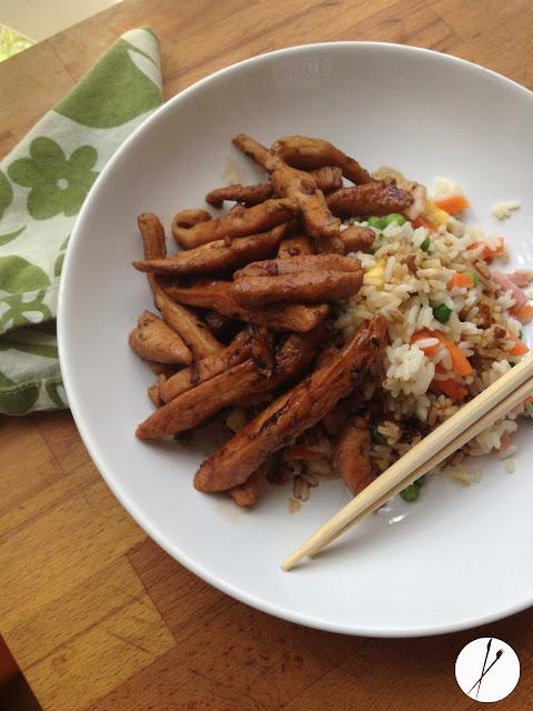 Pollo Teriyaki con arroz tres delicias