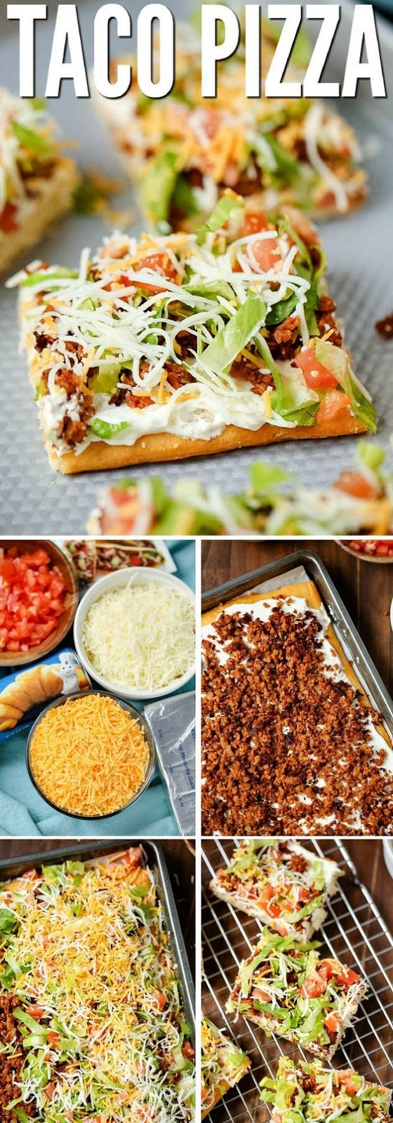 TACO PIZZA #PIZZA #DINNER #TASTYAPPETIZER