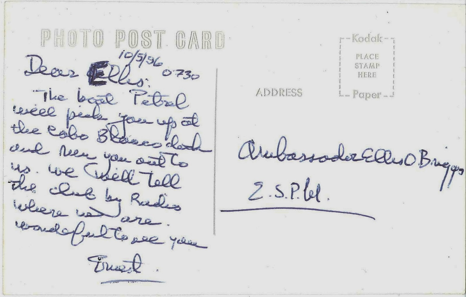 A postcard signed by Ernest Hemingway.