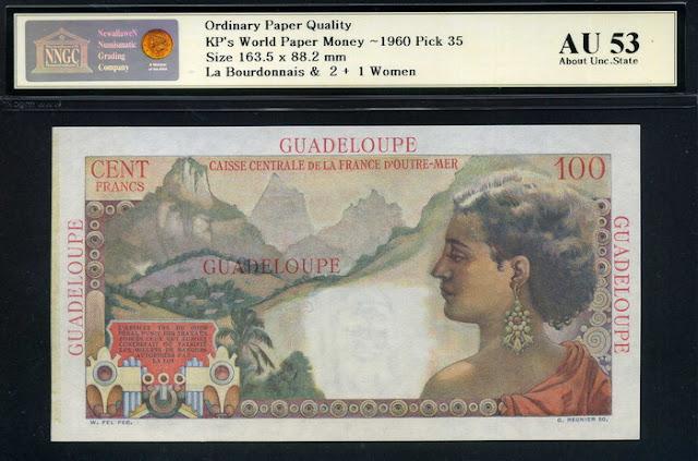 Guadeloupe money 100 Francs banknote Caribbean woman