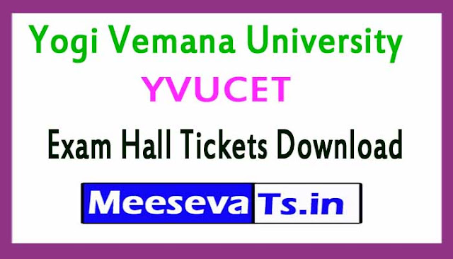 Yogi Vemana University YVUCET Exam Hall Tickets Download 2018