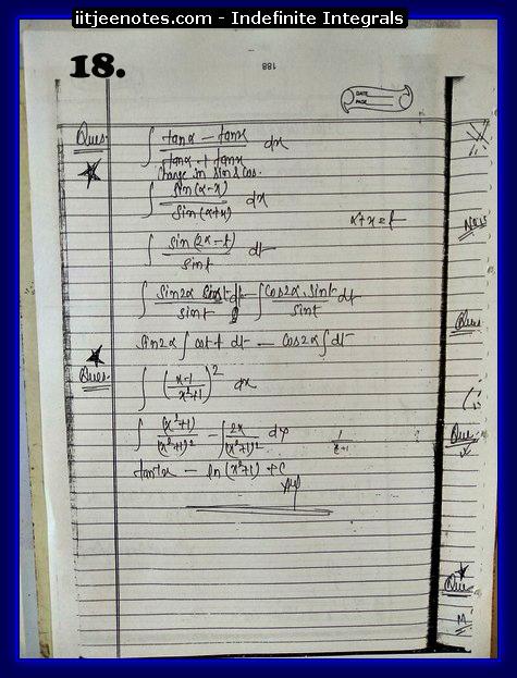indefinite integrals notes 4
