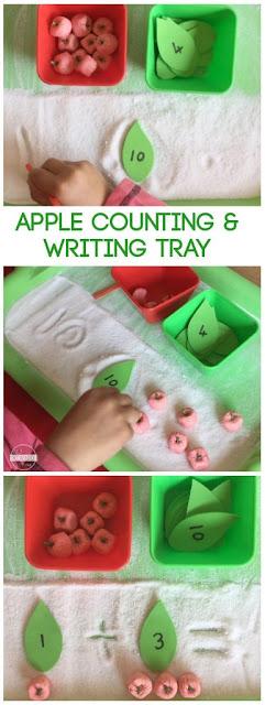 Fall Counting Activity and Salt Writing Hands on activity for kids from preschool, prek, kindergarten, first grade, 2nd grade, 3rd grade