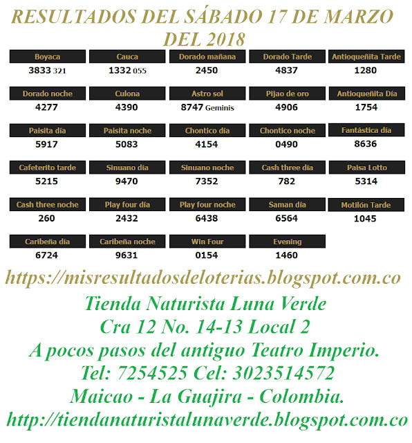Resultados de las loterías de Colombia | Ganar chance | Resultado de la lotería | Loterias de hoy 17-03-2018