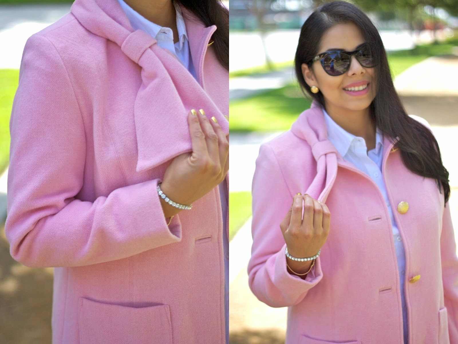 Pastel pink coat for Fall 2014, pastels for Fall 2014, san diego fashion blogger, how to wear pastels for Fall, how to wear pastels in winter, gold buttons, gold foiled nails, blush colored coat