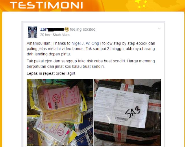 Bukti Atau Testimoni Dari Rahsia Taobao