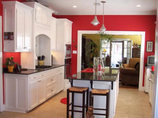 desain dapur minimalis warna merah