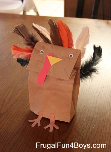 Cute feather paperbag turkey with real feathers