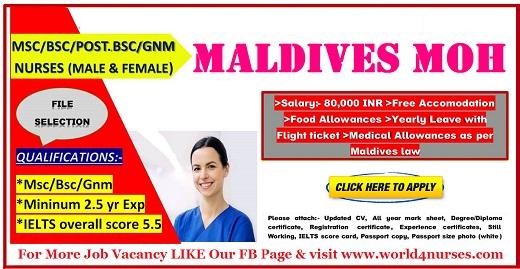 WANTED STAFF NURSES TO MALDIVES MOH ~ WORLD4NURSES