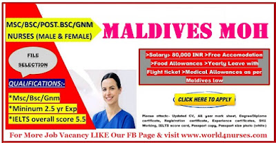 WANTED STAFF NURSES TO MALDIVES MOH