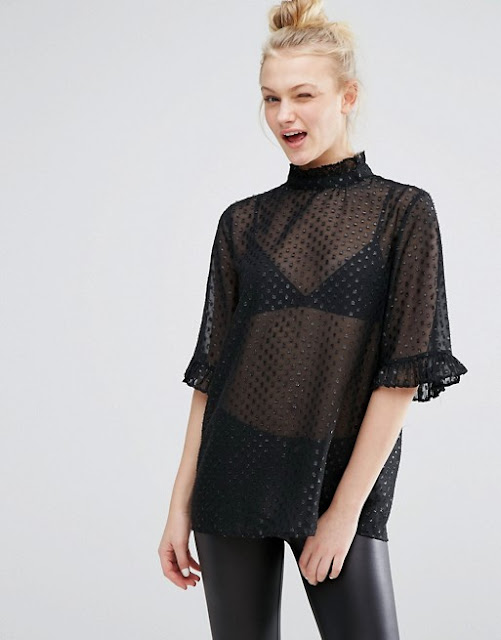 black sheer loose top, oversized sheer top, spotty monki sheer top,